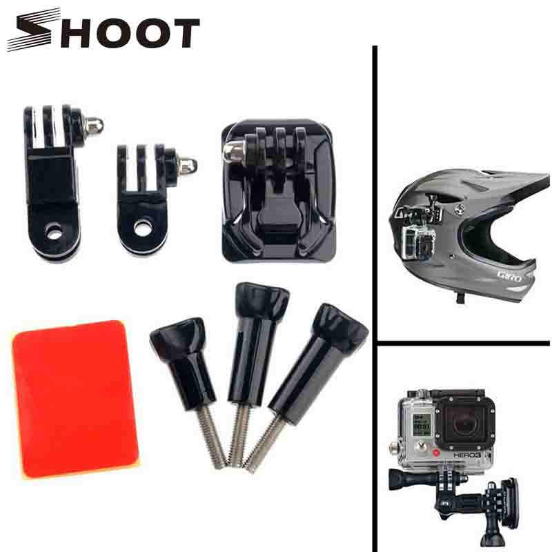 SHOOT Curved Base and Tripod Screw Helmet Mount For Gopro Hero 5 3 4 Session Xiaomi