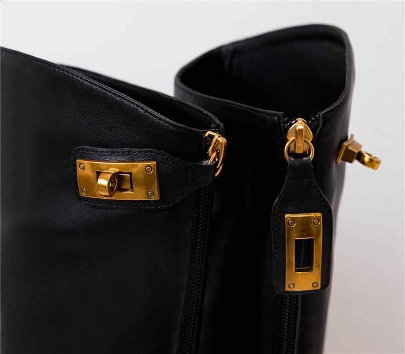 Krazing maceta nuevo streetwear zapatos de tacón de cuero genuino de invierno punta redonda Cierre de metal mantener caliente montar botas altas de muslo l33 - 6