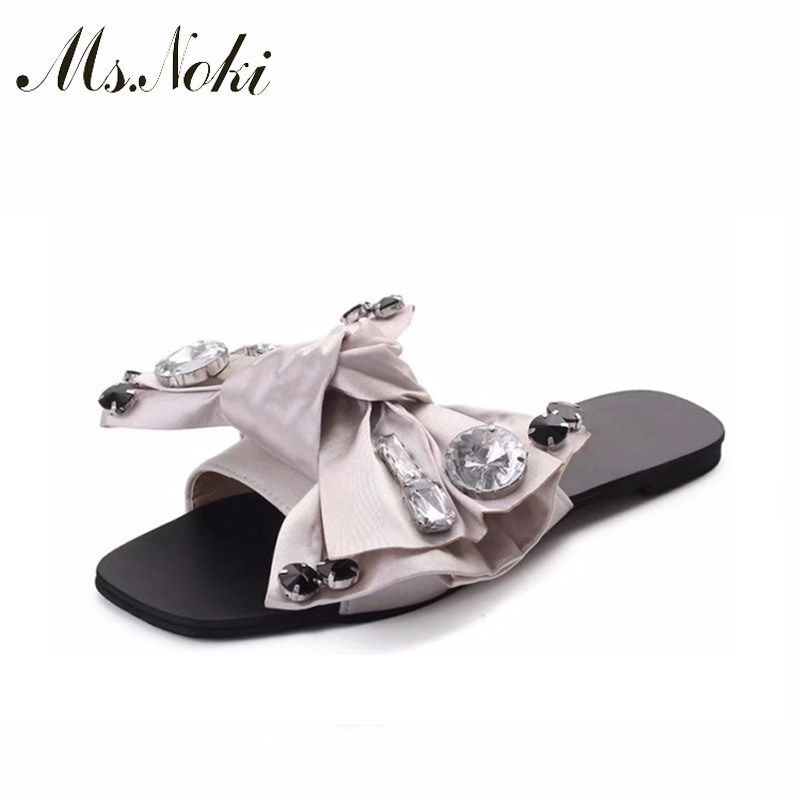 Ms.Noki Crystal bowie Slippers Sandals Women Shoes Summer Peep Toe Women Slides Ladies Outdoor Party Leather Flats hot selling summer new leather sandals and slippers women sandals slope with thick crust outdoor leather lady slippers women s shoes