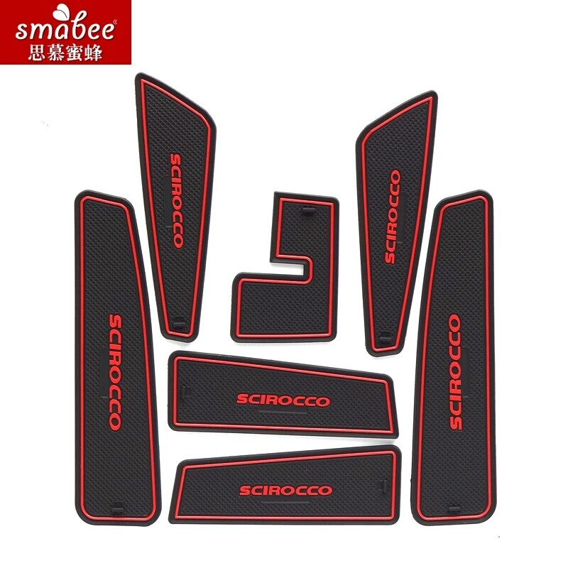7pcs/set For Volkswagen Scirocco 2009 - 2016,Car Accessories 3D Rubber Mat Non-slip Mat Interior Cup Pad Door Groove Mat Smabee slogan print door mat
