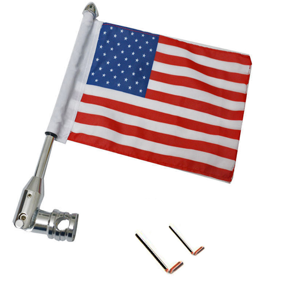 Universal American USA Flag Pole Luggage Rack Chrome Mount For Harley Custom