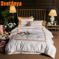 Svetanya Embroidered Bedding sets Queen King size Sheet Pillowcases Duvet Cover set Silk Polyester Cotton Fabric White
