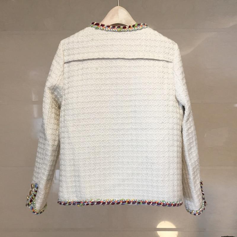 2019 Tweed Casaco Alta Inverno Delle Qualità Donne Nero Mano Cappotto Tessuto Di Il A Giacca Metallo Piccoli Fibbia Feminino bianco Fiori Colore In Profumati Spessore Fatti Del Z6YdnqHw