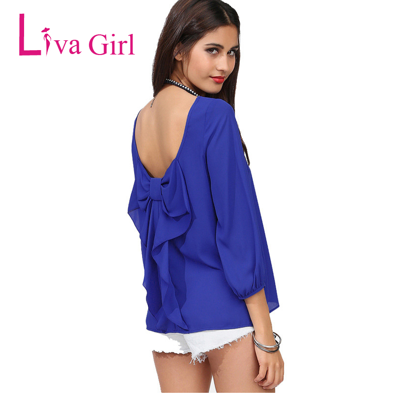 Liva Girl 2019 Summer Womens Plus Size Tops And Blouses Backless Behind Big Bow Chiffon Blouse 5XL 6XL Ladies Tops Camisas Mujer girl