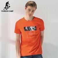 Pioneer camp nueva moda corta camiseta hombres de la marca de clothing camiseta impresa hombre de calidad superior 100% algodón orange azul adt702073