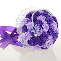 DIY zakończone ślubne ślub druhna bukiet sztucznych kwiatów oblubienicy gospodarstwa nadgarstek stanik