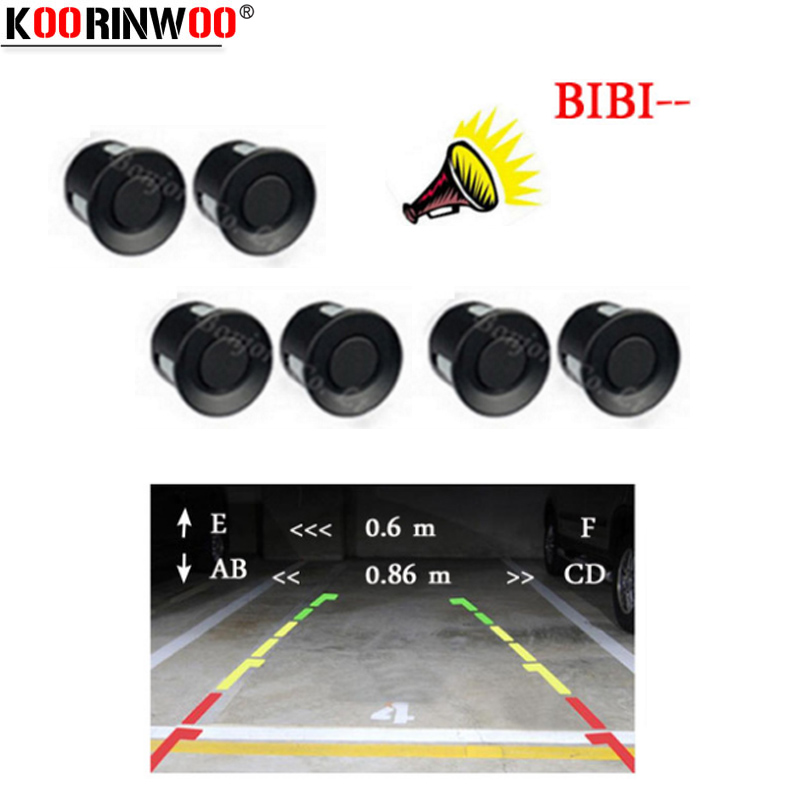 Koorinwoo Parktronic Car Parking Sensors 6 Probes Front Back Alarm Buzzer Parking Indicator For Rear View camera Jalousie System
