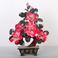 Jade Flower Bonsai 5 Half Red Peony Ornaments Jade Jewelry Ornaments Jewelry Bonsai Home Furnishing Living