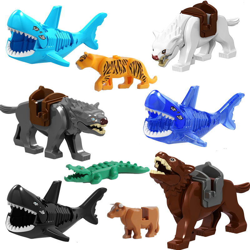 Single Sale Legoingly Lord Of The Wolf Shark Crocodile Leopard Cow Dog Model Bricks Building Blocks Bricks Action Gift Toys