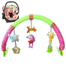 Seat Arch Along baby bed stroller car clip lathe hanging Rattle Bell forest Animal plush Removable infant toy 20%Off