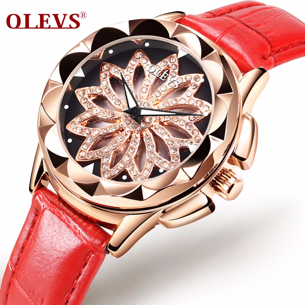 OLEVS Hollow Dial Ladies Watches Luxury Gold Color Leather Strap Women Clock Rhinestone Quartz Wristwatch Luminous Woman's Watch olevs 5873 luxury hollow out dial watch women luminous hands golden quartz watches leather wristwatch ladies clock reloj mujer