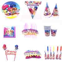 Heißer Shimmer glanz Thema Cartoon Party Geschirr Set Platte Servietten Banner Geburtstag Candy Box kind Dusche Party Dekoration