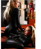 Black Red Sexy Lingerie Leather Patent Leotard Costumes Female DS Cosplay Leather Sexy Lingerie