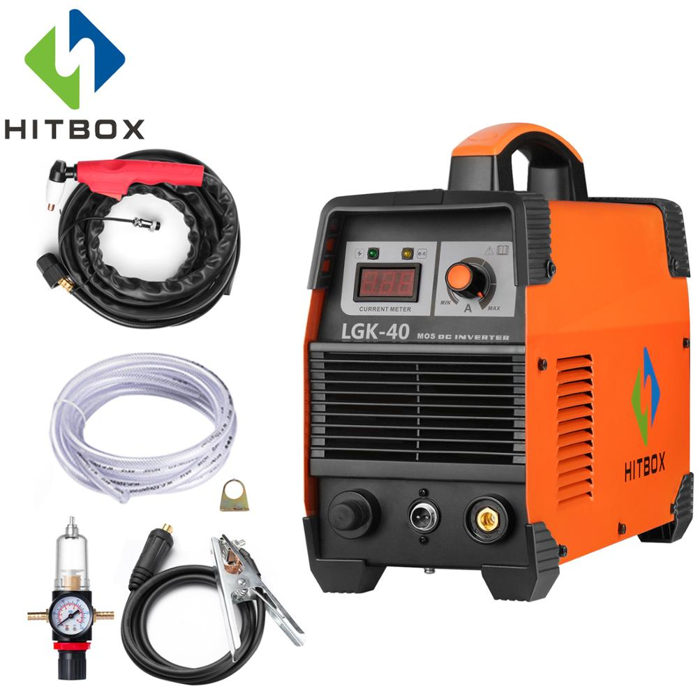 HITBOX Plasma Cutter Cutting Machine CUT40 12mm Plasma Cutter Carbon Steel Stainless Steel Aluminum Cutting carbon brushe 7 11 16 5mm adapter cutter machine x4
