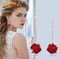 10 estilos Feminino Multilayer red Rose Flor Banhado A Ouro jóias brincos de Doce Romântico longo vermelho Coreano doce Brincos femininos