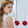 10 styles Female Multilayer red Rose Flower Gold Plated Sweet Romantic jewelry earrings long red Korean sweet female Earrings