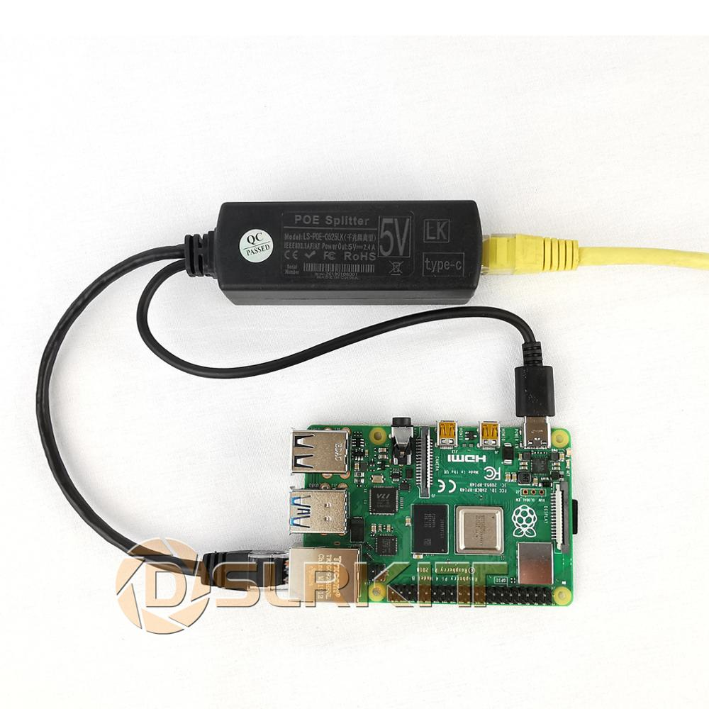 DSLRKIT Raspberry Pi 4 4B Active PoE Splitter USB TYPE C 5V Power Over Ethernet 802.3af