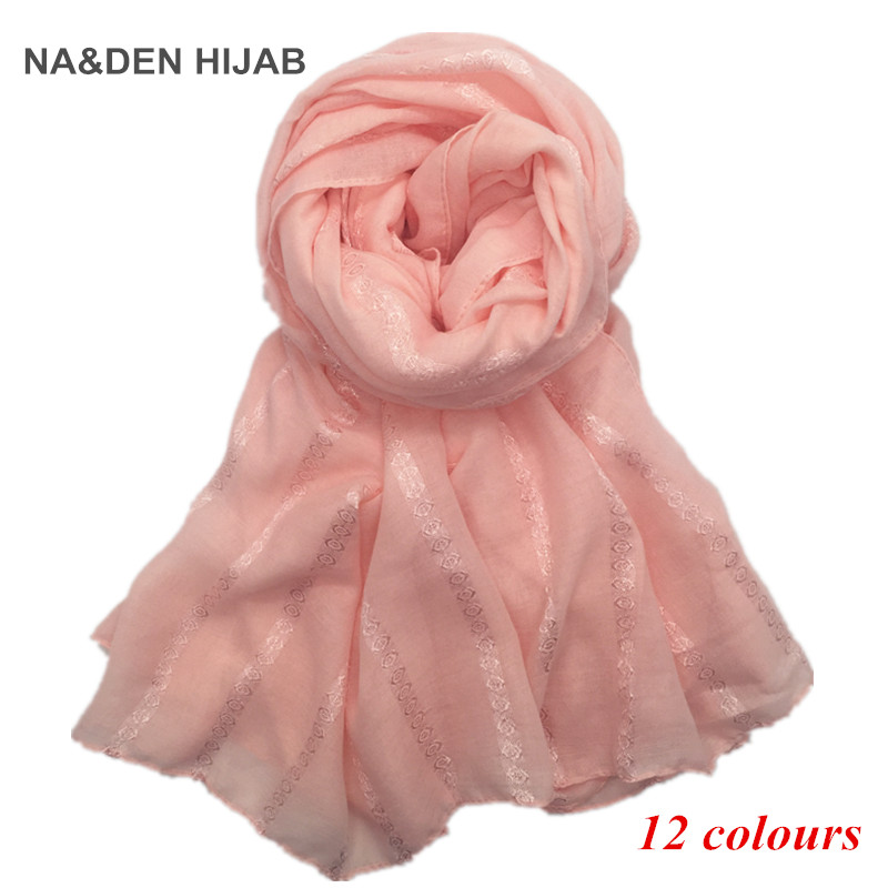12 colors Hot sale women plain maxi scarf brand scarves and shawls shimmer muslim hijab headbands pattern foulard pashmina