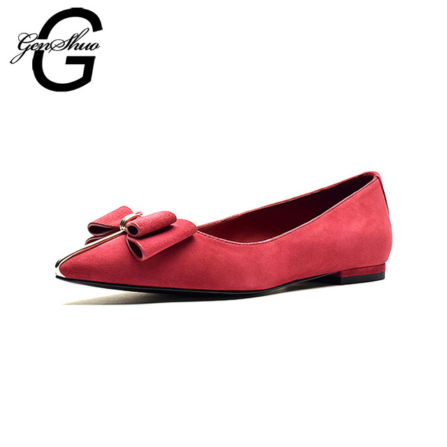 GENSHUO Flats Shoes Women 2018 Casual Pointed Toe Flats Ballet Wedding Ballerinas Shoes Woman Red Flock Small Size 34