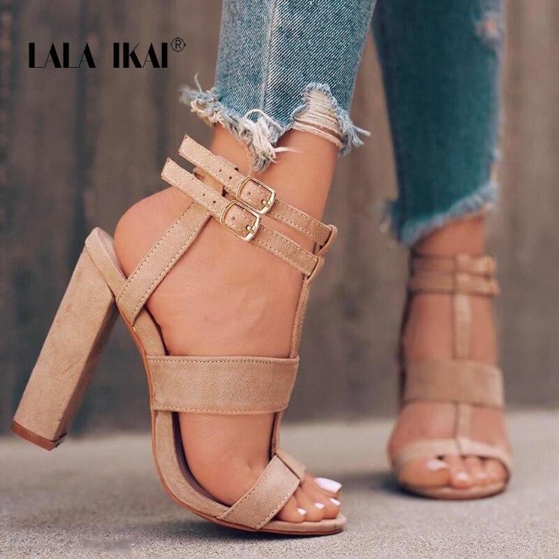 Lala IKAI/Римские сандалии Для женщин летние Туфли с ремешком и пряжкой Высокие каблуки Для женщин узкополосный сандалии для вечеринок на высоком каблуке Туфли под платье 014c0764-5