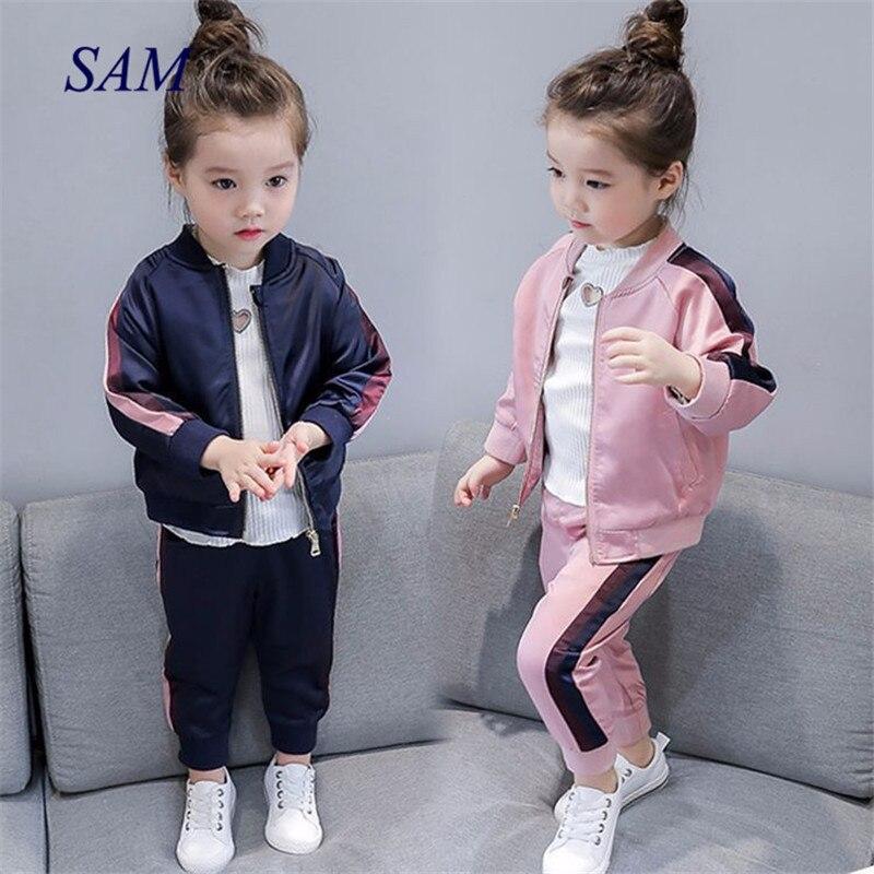 Осень 2020, новая бейсбольная форма для девочек, рубашка на молнии, куртка + брюки, спортивные комплекты одежды из двух предметов для детей|Комплекты одежды|   | АлиЭкспресс