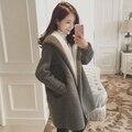 Adolescente meninas casacos de inverno e casaco de 14 anos de idade ~ 20 anos de idade com capuz de lã de cordeiro outwear quente Coreano moda sobretudo