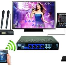 """KTV отель Бар профессиональная караоке система 6 ТБ HDD+ 1"""" беспроводной сенсорный экран+ 19"""" кабель сенсорный экран+ 4 беспроводных микрофона"""