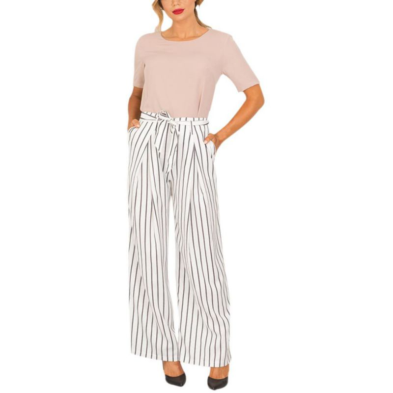 2018 Spring Summer Women High Waist Black White Striped   Wide     Leg     Pants   with Sashes Loose Casual Full length Chiffon Trousers