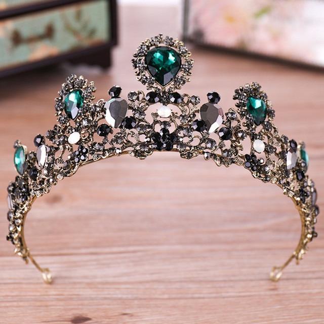DIEZI Baroque Green Crystal Tiara For Women Girls Wedding Bridal Hair Accessories Crown Queen Headband Princess Hair Jewelry