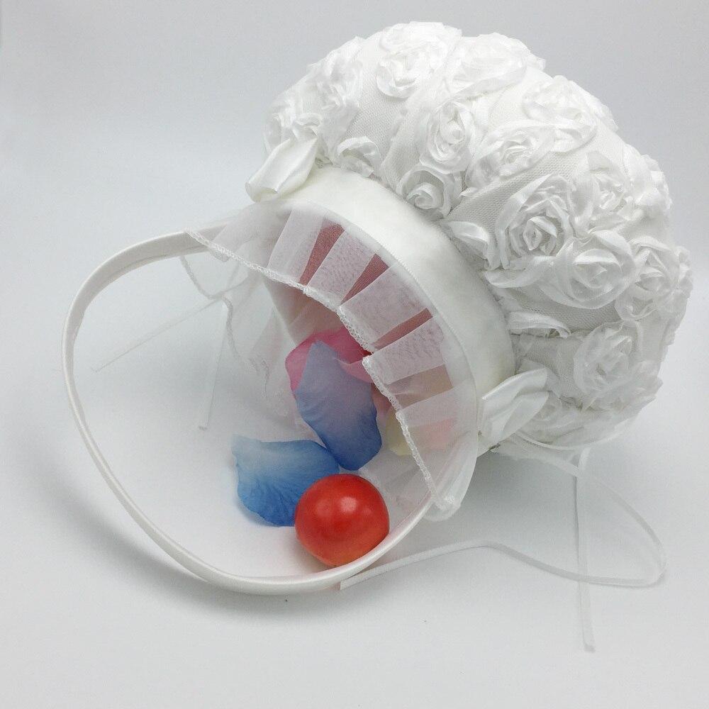 OurDecor 4 Pcs/lot blanc fleur décoration mariage invité livre & stylo ensemble & anneau oreiller & filles fleur panier décor produits de mariée - 2