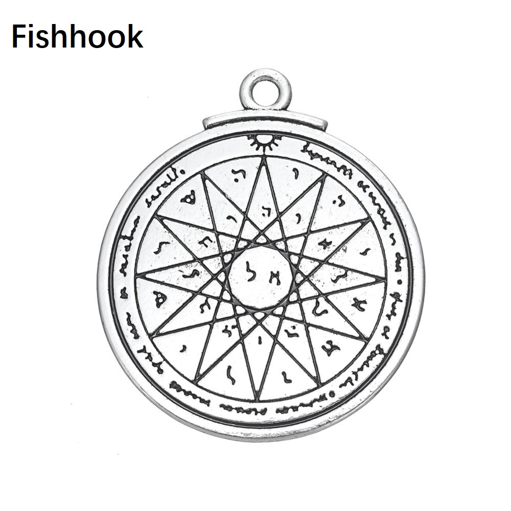Fishhook Double Sides Solomon Seal Geometric Star of David Runes Viking Vintage Supernatural Pendant Charms for Jewelry Making