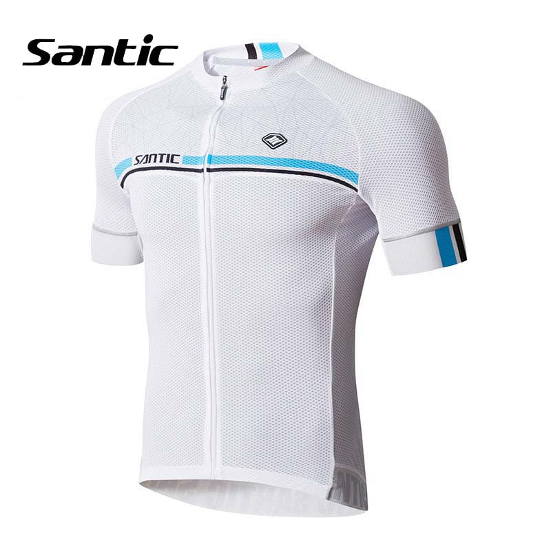 Santic Cycling Jersey Mens Short Sleeve MTB Road Bike Jersey 2018 Pro Team Bicycle Jersey Blue White Green Gray Cycling Clothing 2016 pro team merida bike cycling clothing cycling wear cycling jersey bicycle sportswear short sleeve suite green black