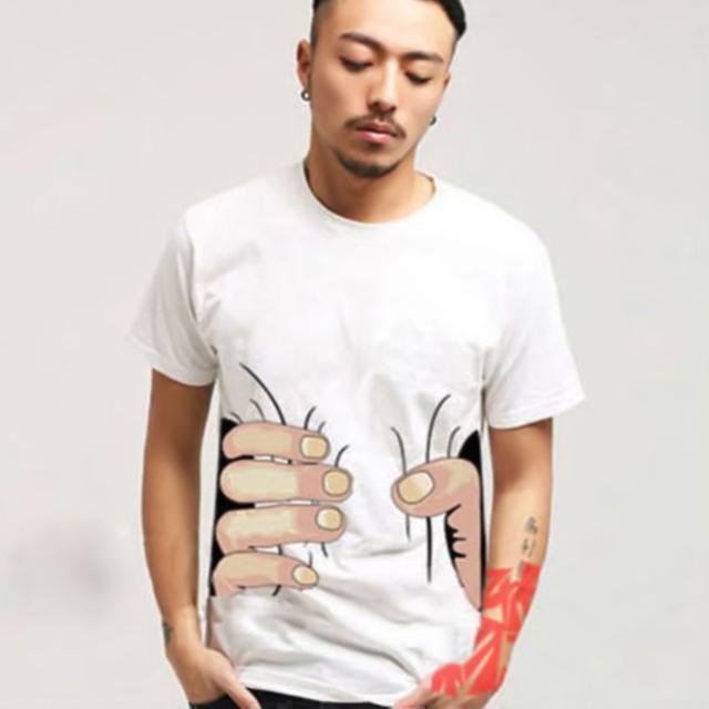 3D Big Hand Short Sleeve Cotton T Shirt