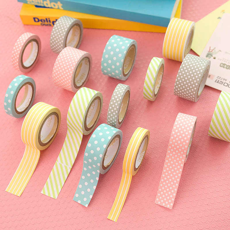 5pcs/Set Polka Dots Paper Washi Tape Adhesive DIY Scrapbooking Decorative Sticker Label Masking Tape School Office Supply