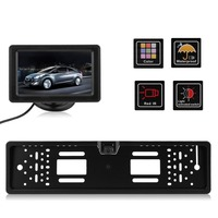 European License Plate Holder Car Rear View Camera And 4.3 Inch Monitor Reverse Parking Backup Camera Rearview Camera Set