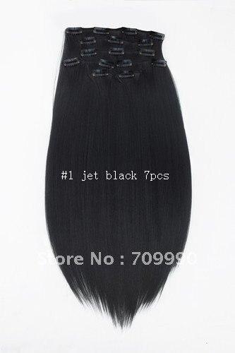 Best Seller Synthetic clip in on hair extension Kanekalon high temperature fiber 7pcs 100g 1set 18 20 22 24 inch #1 Jet black