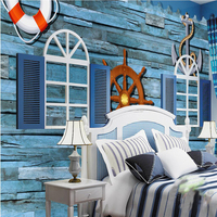 Beibehang Custom 3d Wall Paper Mediterranean Style Horizontal Striped Blue Retro Nostalgia Wood Wallpaper Background Wall