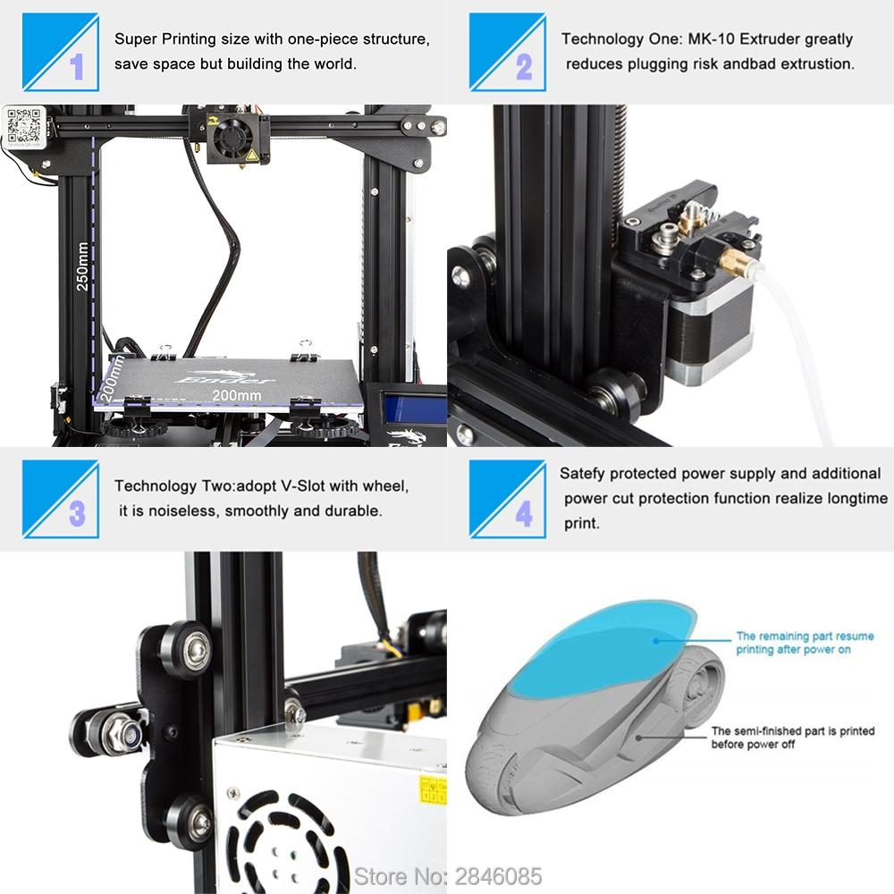 CREALITY 3D Printer Ender-3/Ender-3X Upgraded Tempered Glass Optional,V-slot Resume Power Failure Pr