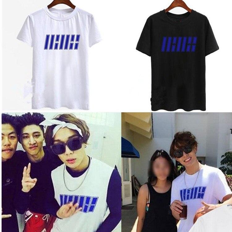 2016 kpop ikon yg コンサート tシャツ 100% コットン ikon メンバー キャラクター tシャツ ファッション