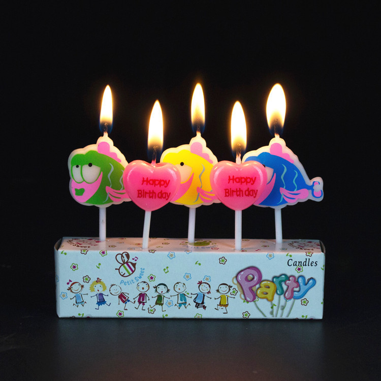 Kids Birthday Candles Fish shape Animal Candles Cake Decoration