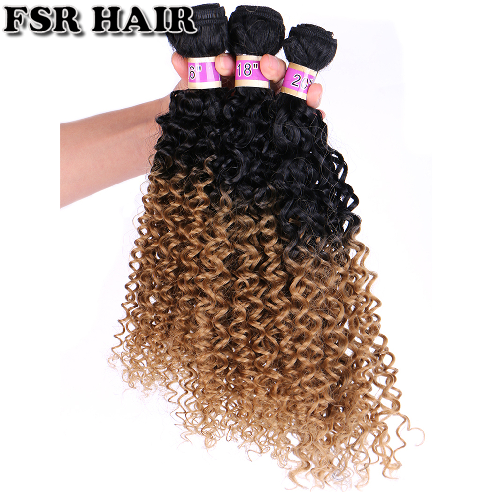 Two Tone Ombre Kinky Curly Hair Weaving High Temperature Synthetic Hair Bundle For Black Women