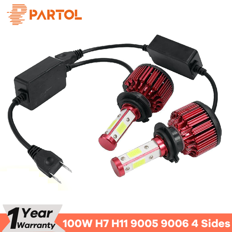 Partol 100 W H7 LED Scheinwerfer Lampen 4 Seiten COB Chips LED HB3/HB4 Auto Licht Helle Auto H11 LED Lampe 100 00LM 9005/9006/9012/5202
