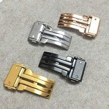 Tjp нержавеющей стали смотреть застежка 18 мм 20 мм 22 мм 24 мм черный серебристый розовое золото матовый развертывания ремешок для часов пряжка для hublot