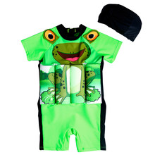 Children One-Piece Buoyancy Floatation Swimsuit With Swim Cap/Hat Baby Girls&Boys Safe Life Vast Kids Frog Swimming Float Suit(China)