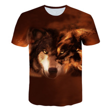 BIAOLUN New Summer Flame Wolf Printed 3D T shirts Men T-shirts Design Tops Tees Short Sleeve Shirt Animal Casual Top
