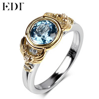 EDI 6 5mm Natural Blue Topaz Engagement Ring For Women 925 Sterling Silver 18k Gold Plated