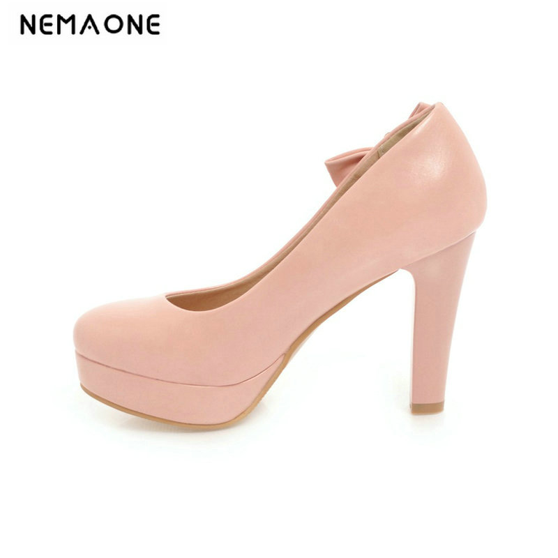 2019 New Women Pumps Shoes Women PU Leather Shallow Slip-On Round Toe High Heels Wedding Party Shoes Large Size 42 43