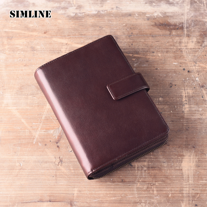 SIMLINE Vintage Genuine Leather Cowhide Cover A6 Loose Leaf Travel Notebook Diary Passport Holder Kindle Cover Men Women Wallet zhongjia zj 5922 loose leaf notebook w 8 digit calculator artificial leather zipper cover black