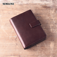 SIMLINE Vintage Handmade Genuine Leather Cowhide Cover A6 Loose Leaf Traveler S Notebook Diary Passport Holder