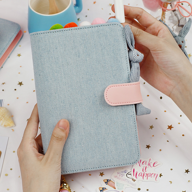 2019 A5 A6 Kawaii Cute cloth Notebook school office stationery Blank line grid dots planner notepad 6 Holes Spiral Ring Binder